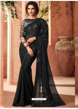 Black Korian Silk Chiffon Embroidered Designer Party Wear Saree