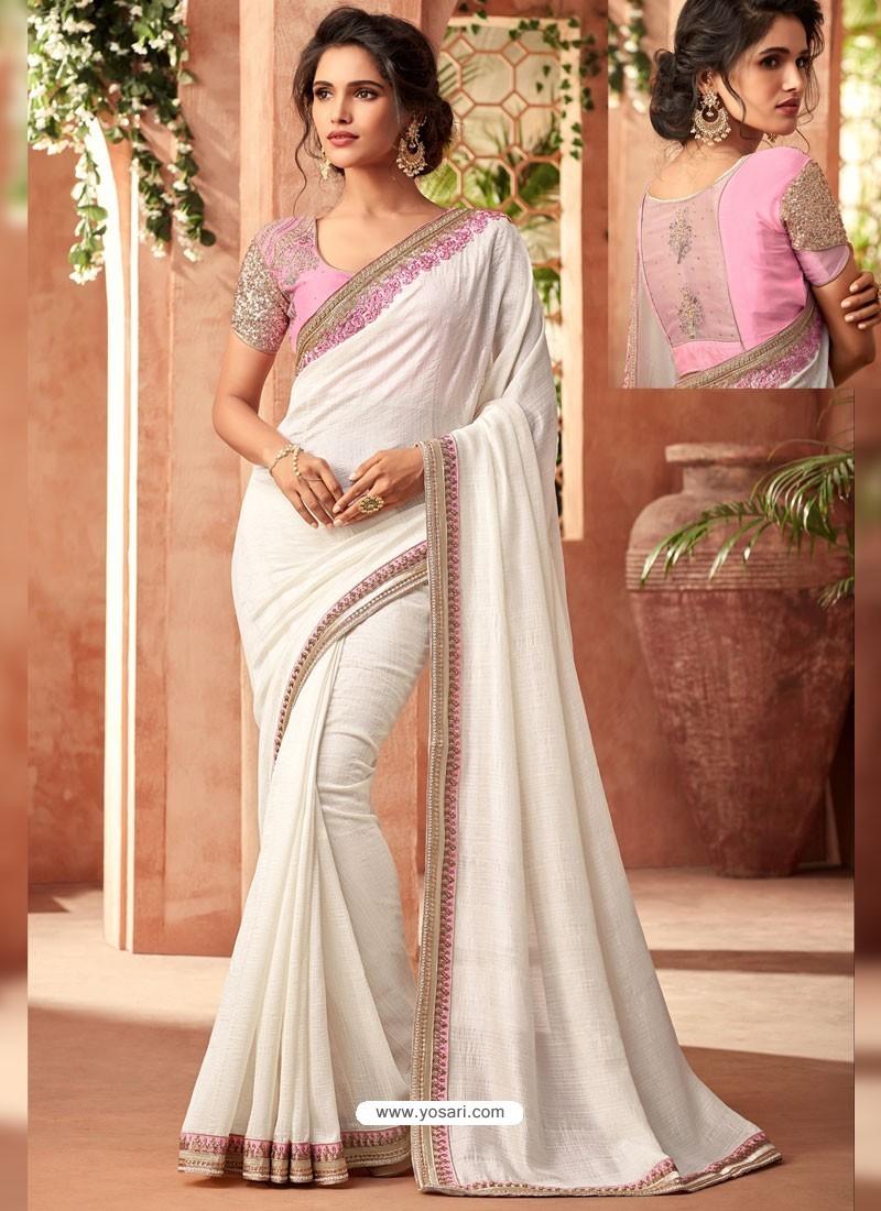 White Super Silk Gerorgette Embroidered Designer Party Wear Saree