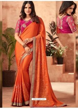 Orange Korian Silk Chiffon Embroidered Designer Party Wear Saree