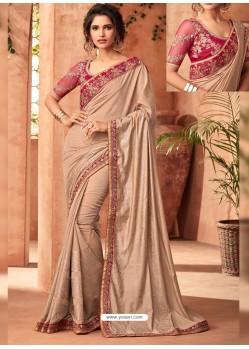 Light Beige Nyraa Silk Embroidered Designer Party Wear Saree
