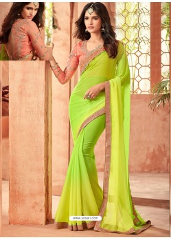 Parrot Green Star Georgette Embroidered Designer Party Wear Saree