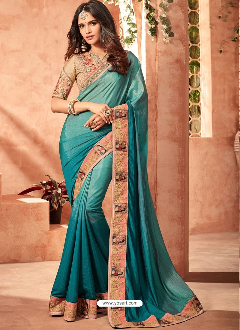 Teal Fusion Silk Embroidered Designer Party Wear Saree