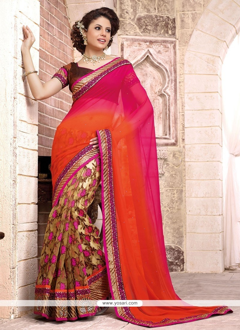 Epitome Orange And Magenta Faux Georgette Designer Saree