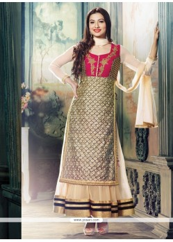 Gauhar Khan Cream Embroidery Work Anarkali Suit