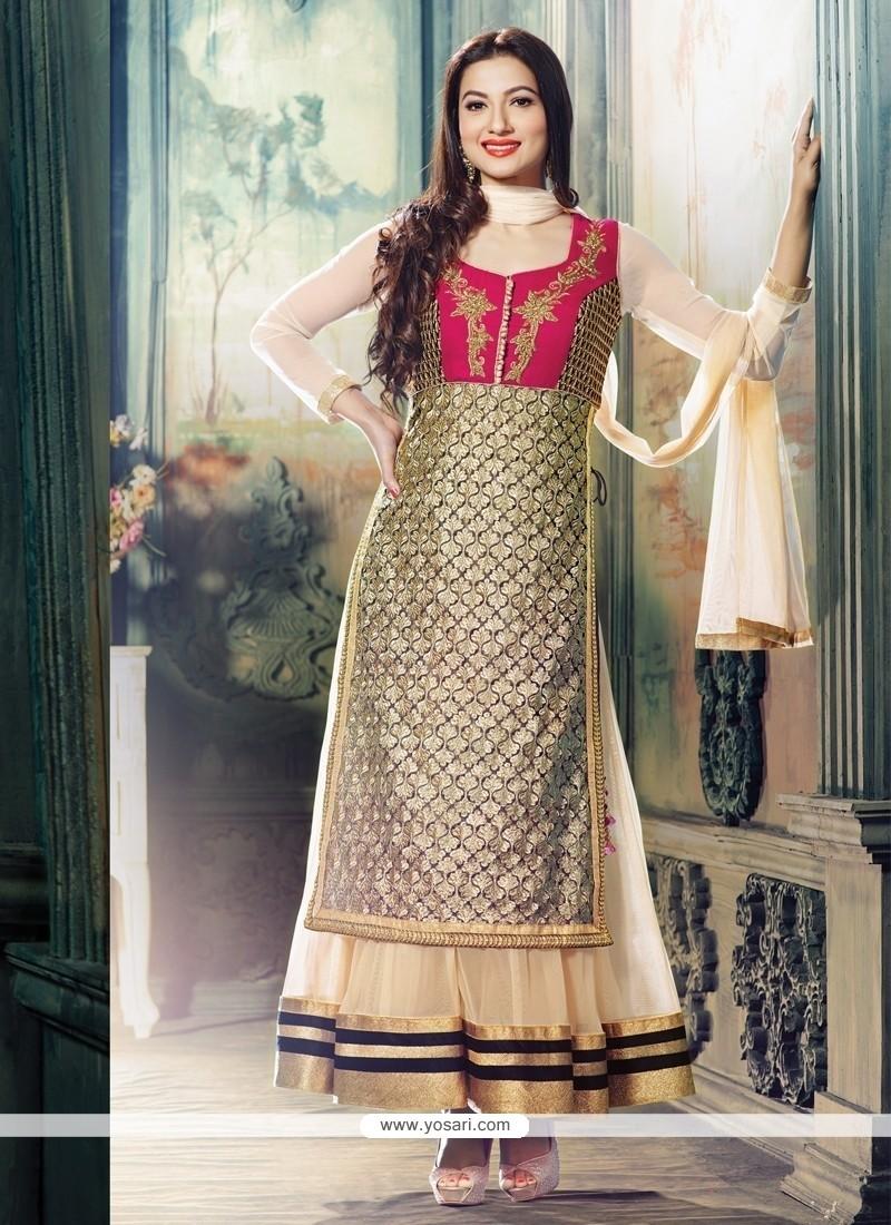 Gauhar Khan Cream Embroidery Work Anarkali Suit