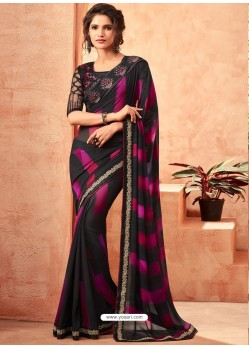 Black And Pink Milano Georgette Embroidered Designer Party Wear Saree