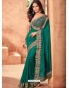 Incredible Dark Green Nyraa Silk Embroidered Designer Party Wear Saree