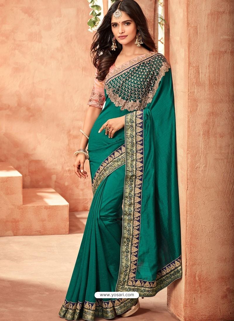 e64f3b2993 Designer Party Wear Sarees India: Buy Incredible Dark Green Sunshine Silk  Embroidered Designer Party rh