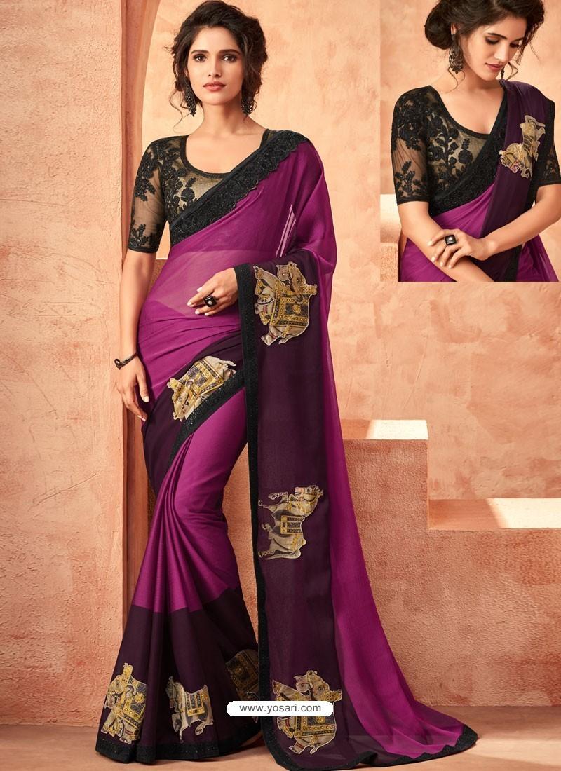 Purple Beliza Silk Embroidered Designer Party Wear Saree