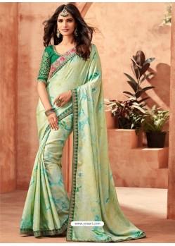 Sea Green And Multi Monarch Silk Embroidered Designer Party Wear Saree
