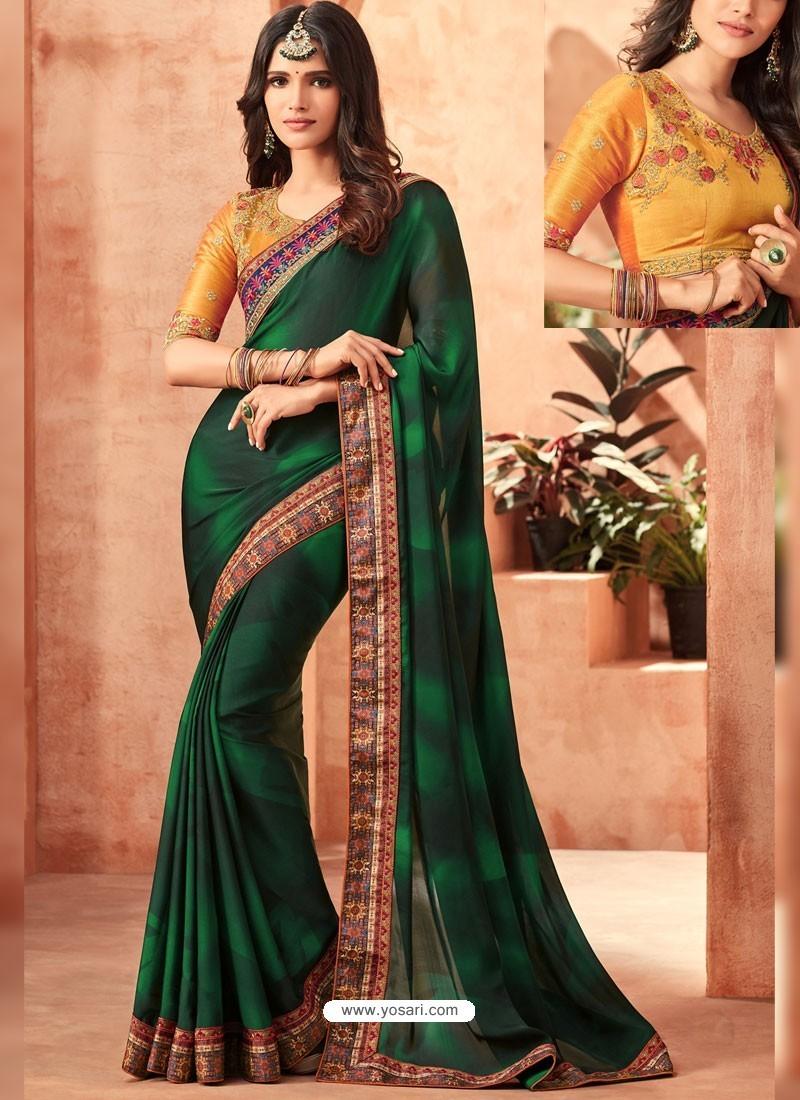 Dark Green Sunshine Silk Embroidered Designer Party Wear Saree