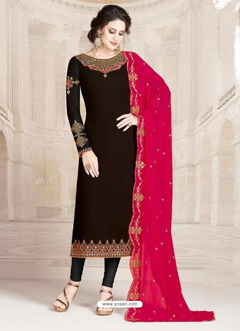Black Faux Georgette Embroidered Designer Churidar Suit