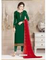 Dark Green Faux Georgette Embroidered Designer Churidar Suit