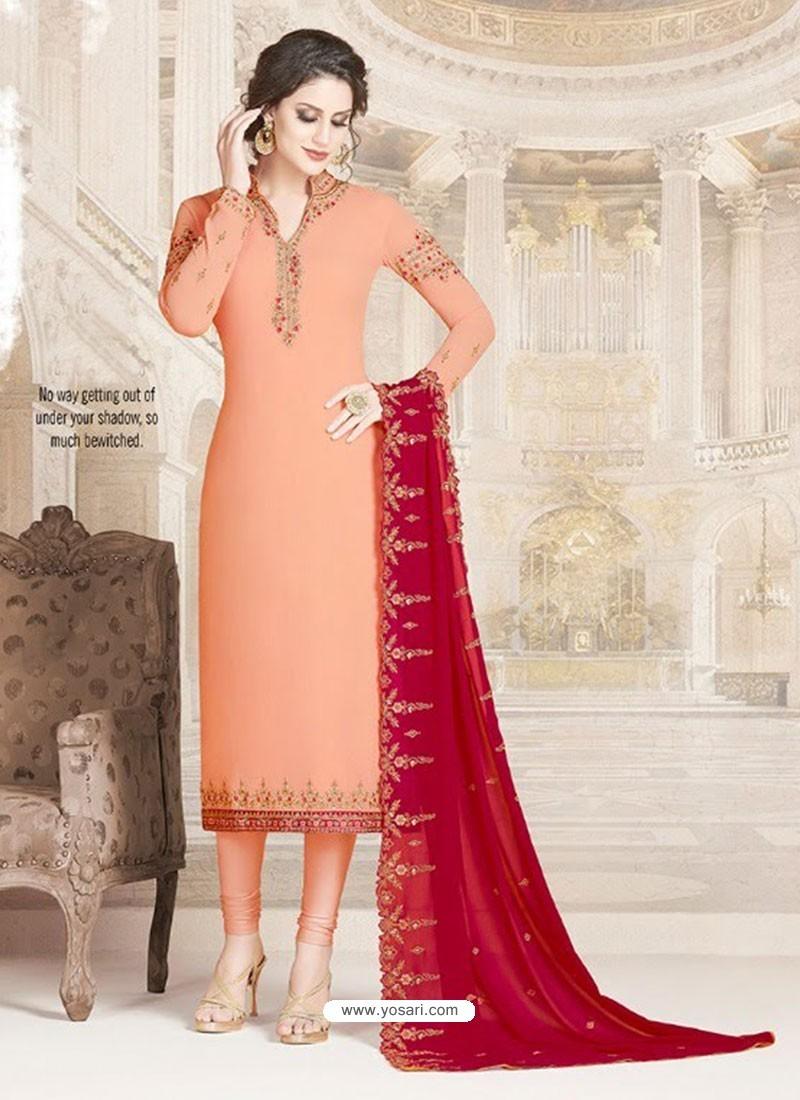 Light Orange Faux Georgette Embroidered Designer Churidar Suit