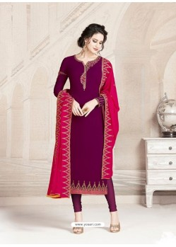 Purple Faux Georgette Embroidered Designer Churidar Suit