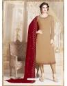Beige Faux Georgette Embroidered Designer Churidar Suit