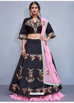 Black Art Silk Resham Embroidered Designer Lehenga Choli