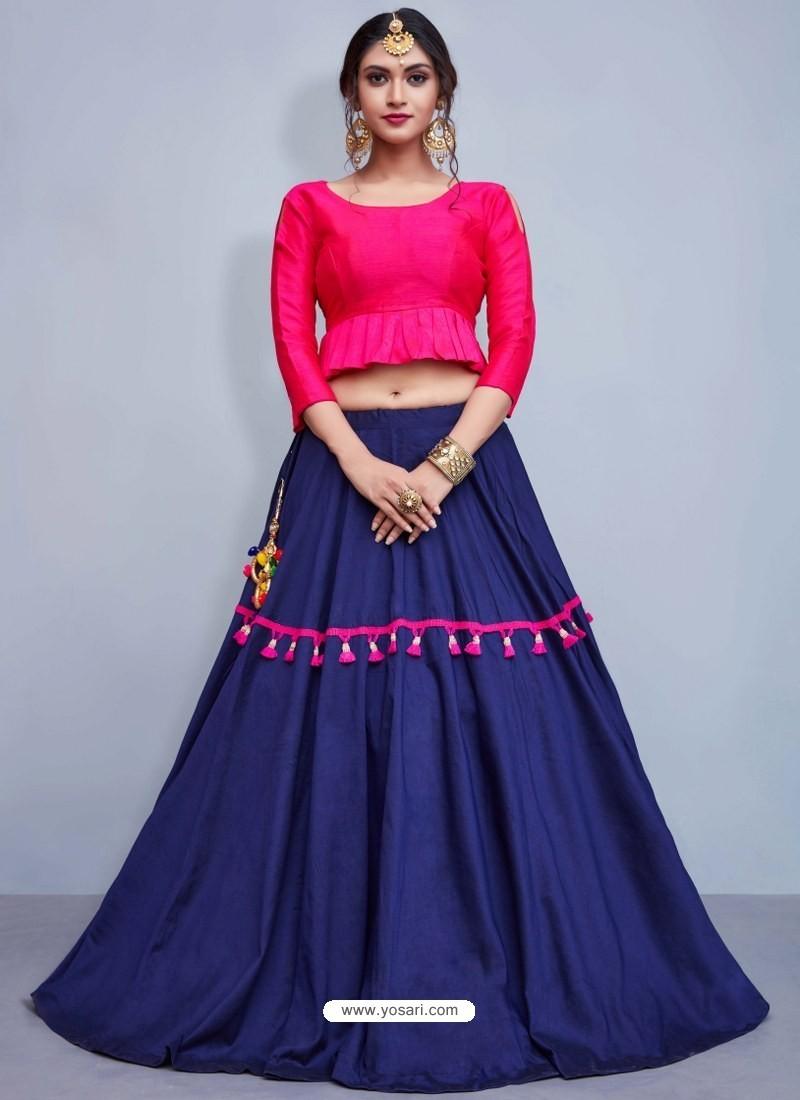 Navy Blue And Fuchsia Art Silk Lace Work Designer Lehenga Choli