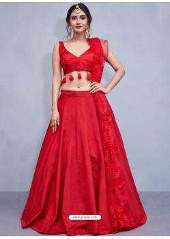 Exclusive Red Art Silk Resham Embroidered Designer Lehenga Choli