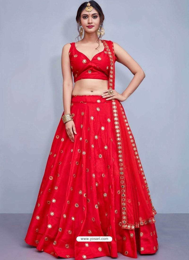 Wonderful Red Art Silk Jari Embroidered Designer Lehenga Choli