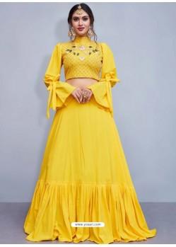 Latest Yellow Crepe Silk Resham Embroidered Designer Lehenga Choli