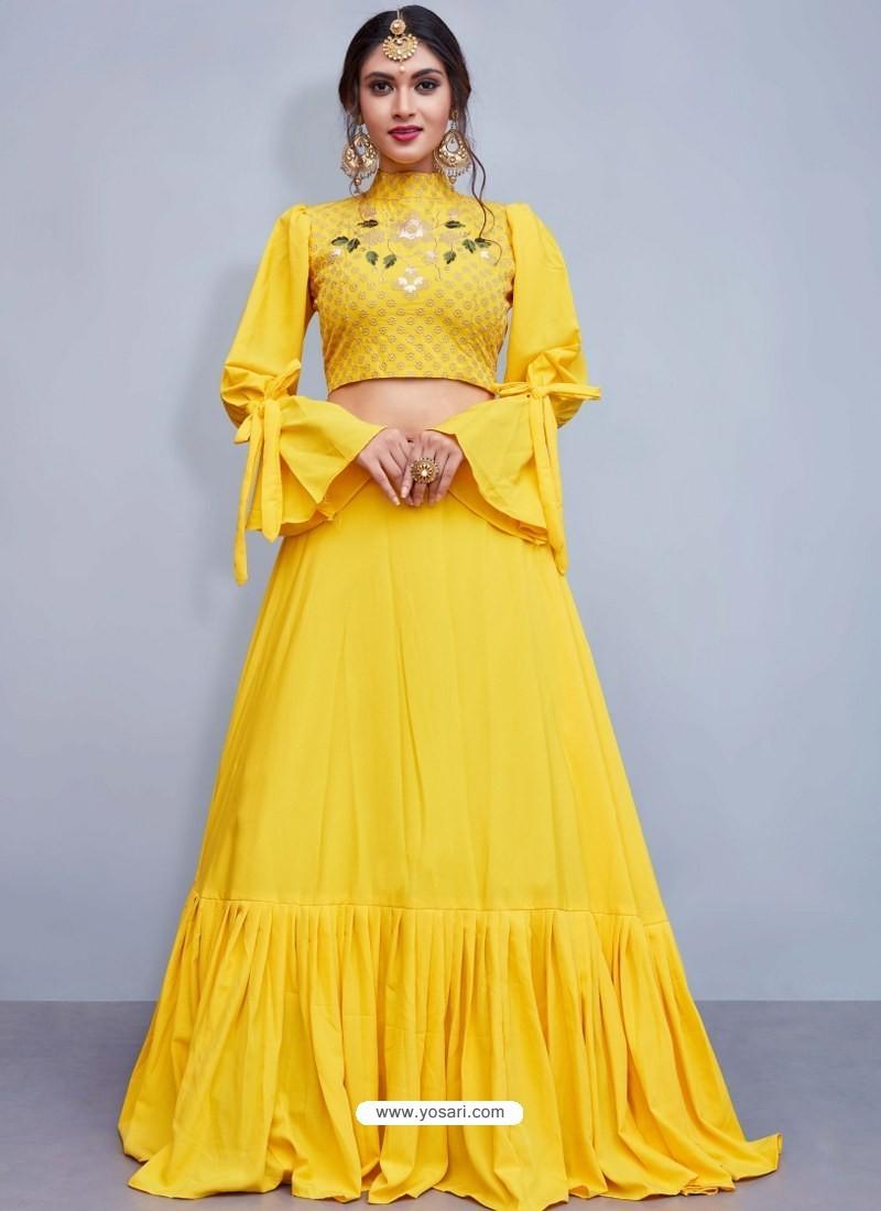 Buy Latest Yellow Crepe Silk Resham Embroidered Designer Lehenga Choli Designer Lehenga Choli