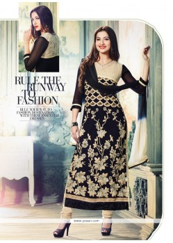 Gauhar Khan Black Georgette Churidar Suit