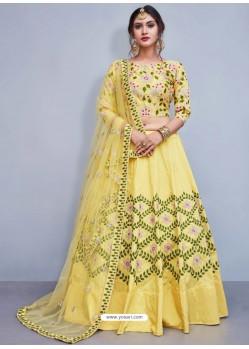 Fantastic Yellow Art Silk Resham Embroidered Designer Lehenga Choli