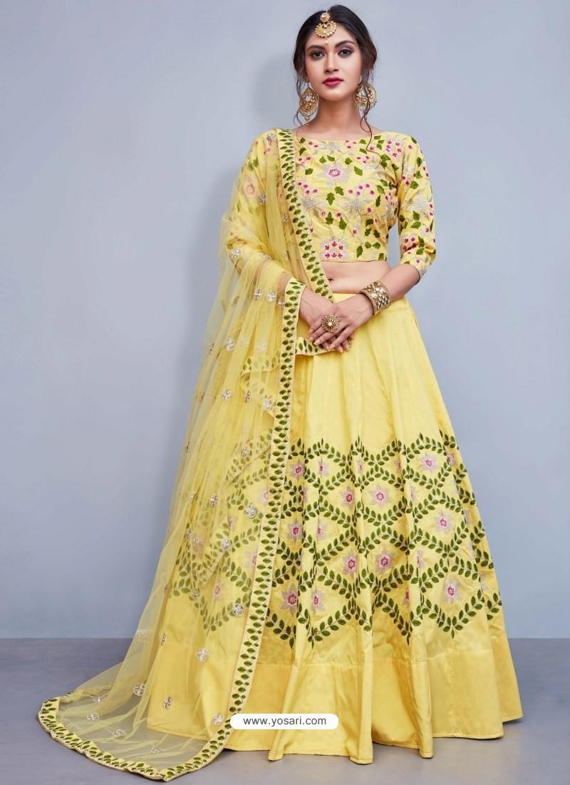 e9790da7ce Buy Fantastic Yellow Art Silk Resham Embroidered Designer Lehenga ...