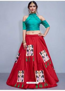 Teal And Red Nylon Silk Printed Designer Lehenga Choli