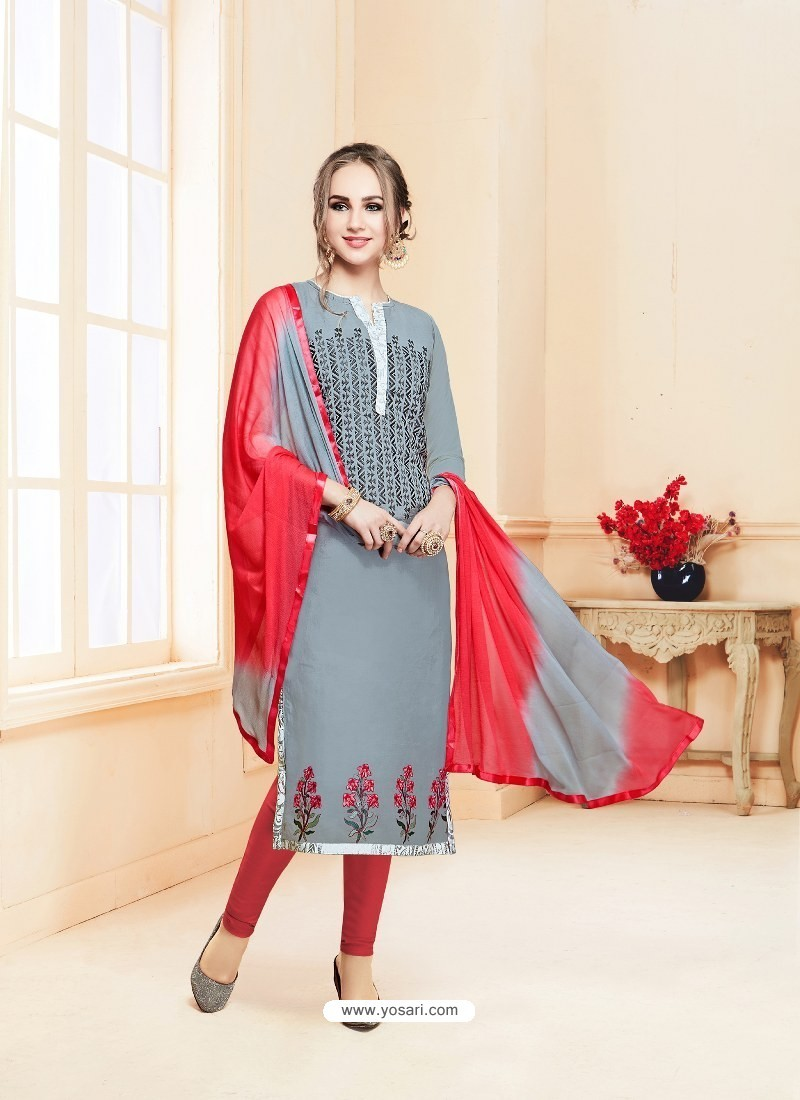 Grey Glace Cotton Embroidered Churidar Suit