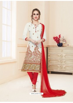 Off White Glace Cotton Embroidered Churidar Suit