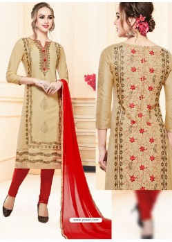 Beige Glace Cotton Embroidered Churidar Suit