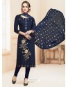 Navy Blue Glace Cotton Embroidered Churidar Suit