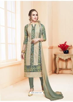 Olive Green Glace Cotton Embroidered Churidar Suit