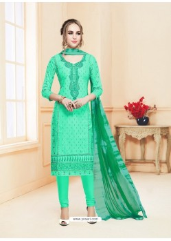 Jade Green Cotton Embroidered Churidar Suit