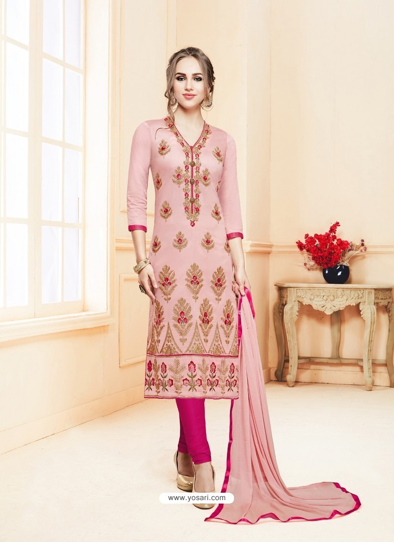 Pink Glace Cotton Embroidered Churidar Suit