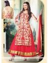 Gauhar Khan Cream And Red Soft Net Anarkali Suit