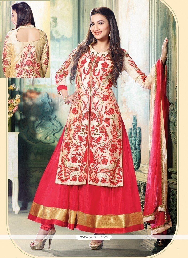 Gauhar Khan Cream And Red Soft Net Anarkali Suit