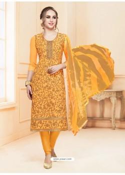 Latest Orange Glace Cotton Embroidered Churidar Suit