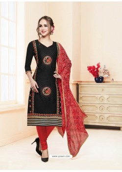 Black Glace Cotton Embroidered Churidar Suit