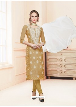 Golden Glace Cotton Embroidered Churidar Suit
