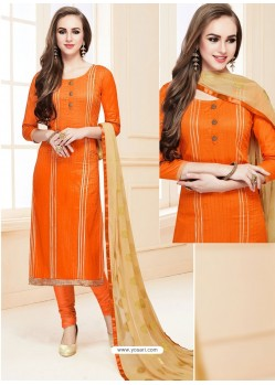 Glorious Orange Glace Cotton Embroidered Churidar Suit
