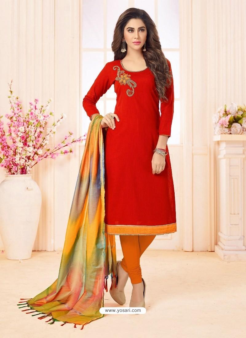 Red And Orange Slub Cotton Hand Worked Churidar Suit
