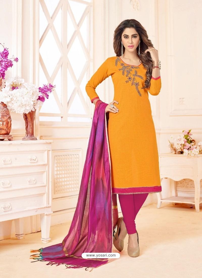 Mustard And Pink Slub Cotton Hand Worked Churidar Suit