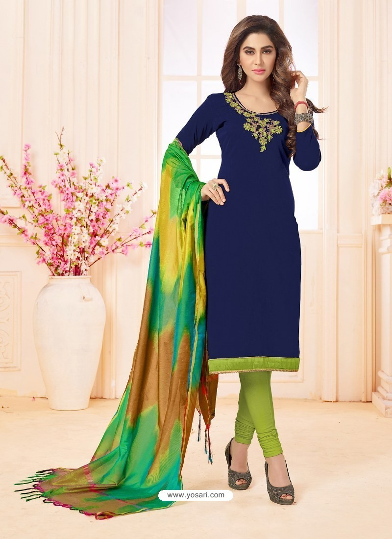Navy Blue And Green Slub Cotton Hand Worked Churidar Suit