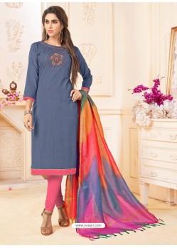 Grey And Pink Slub Cotton Hand Worked Churidar Suit