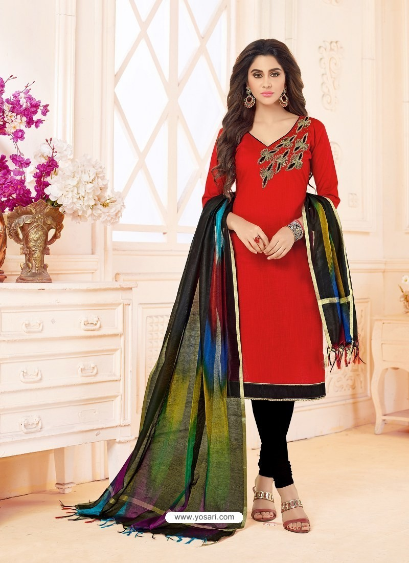 Red And Black Slub Cotton Hand Worked Churidar Suit