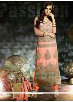 Miraculous Peach Net Salwar Suit