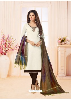 Off White And Coffee Slub Cotton Hand Worked Churidar Suit
